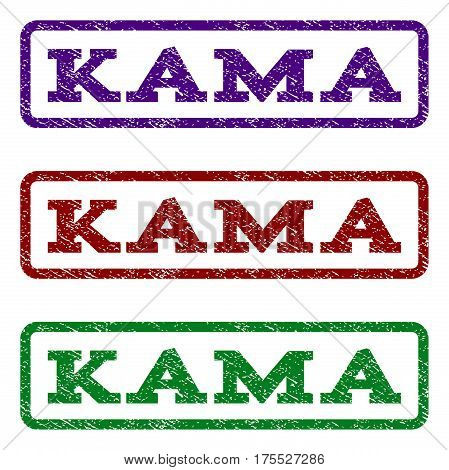 Kama watermark stamp. Text caption inside rounded rectangle frame with grunge design style. Vector variants are indigo blue, red, green ink colors. Rubber seal stamp with dirty texture.