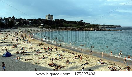 Sydney Australia - Feb 5 2017. People relaxing swimming and sun bathing on Coogee beach. Located on Sydney's famous Coastal Walkway which stretches from Bondi Beach to Maroubra Beach.