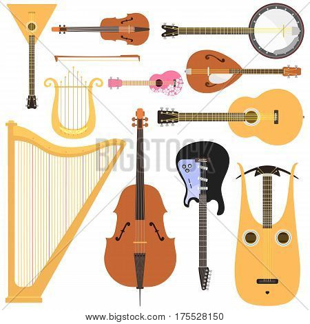 Stringed musical instruments set classical orchestra art sound tool and acoustic symphony stringed fiddle wooden equipment vector illustration. Vintage performance classic folk rock artistic sign.