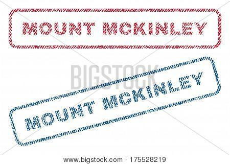 Mount Mckinley text textile seal stamp watermarks. Blue red fabric vectorized texture. Vector caption inside rounded rectangular shape. Rubber sticker with fiber textile structure.