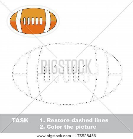 Orange Ball for American Football. Dot to dot educational game for kids.