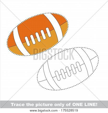 Orange Ball for American Football. Dot to dot educational game for kids. Trace only of one line.