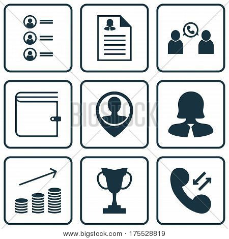 Set Of 9 Management Icons. Includes Job Applicants, Female Application, Business Woman And Other Symbols. Beautiful Design Elements.