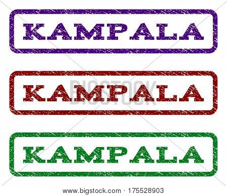 Kampala watermark stamp. Text tag inside rounded rectangle with grunge design style. Vector variants are indigo blue, red, green ink colors. Rubber seal stamp with unclean texture.