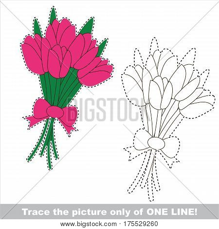 Tulip Bouquet of Five Tulips. Dot to dot educational game for kids. Trace only of one line.