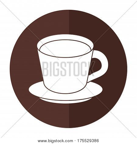 coffee cup plate shadow vector illustration eps 10