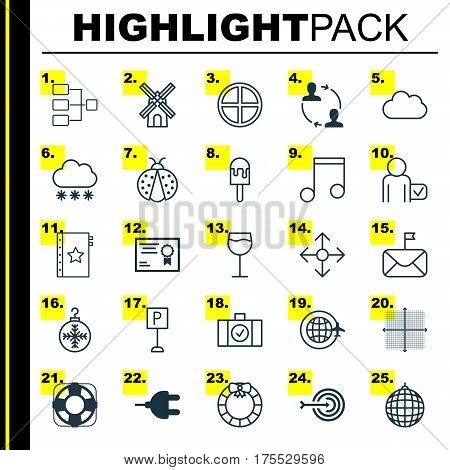 Set Of 25 Universal Editable Icons. Can Be Used For Web, Mobile And App Design. Includes Elements Such As Sea Rescue, Cooperation, Snowstorm And More.