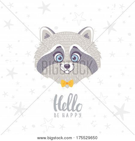 Super cute and funny character raccoon with sample text. Vector illustration