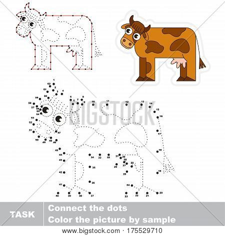 Brown Cow. Dot to dot educational game for kids. Task is to trace picture by numbers.
