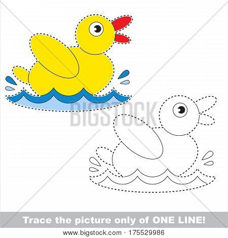 Yellow Duck. Dot to dot educational game for kids. Trace only of one line.