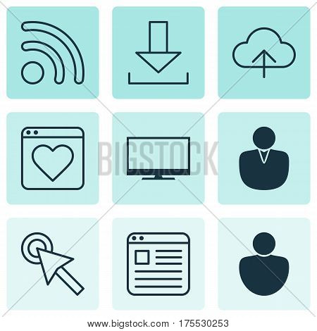 Set Of 9 Web Icons. Includes Data Synchronize, Followed Website, Human And Other Symbols. Beautiful Design Elements.