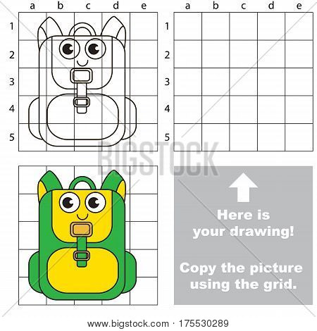 Copy the picture using grid lines, the simple educational game for preschool children education with easy gaming level, the kid drawing game with Funny Greeen School Bag