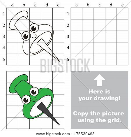 Copy the picture using grid lines, the simple educational game for preschool children education with easy gaming level, the kid drawing game with Funny Gree Pushpin.