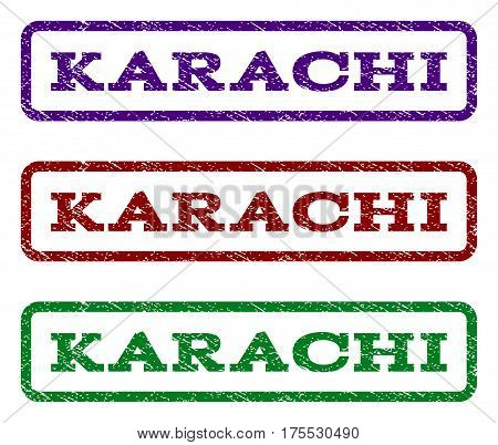 Karachi watermark stamp. Text tag inside rounded rectangle frame with grunge design style. Vector variants are indigo blue, red, green ink colors. Rubber seal stamp with scratched texture.