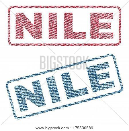 Nile text textile seal stamp watermarks. Blue red fabric vectorized texture. Vector tag inside rounded rectangular banner. Rubber sign with fiber textile structure.