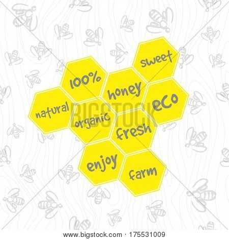 Doodle seamless pattern - swarm of bees and honeycomb. Vector background for design