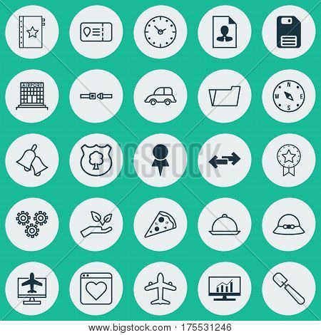 Set Of 25 Universal Editable Icons. Can Be Used For Web, Mobile And App Design. Includes Elements Such As Trip Access, Jet, Safety Belt And More.