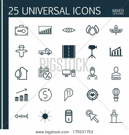 Set Of 25 Universal Editable Icons. Can Be Used For Web, Mobile And App Design. Includes Elements Such As Flight Basket, Personal Computer, Money Trasnfer And More.