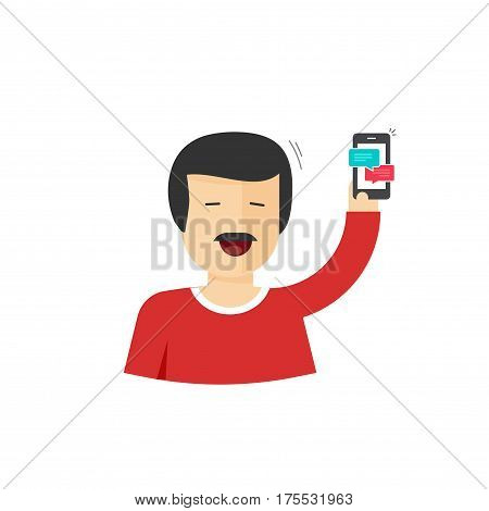 Happy man smiling with hand up holding smartphone vector illustration, flat style cartoon joyful character showing mobile phone, success achievement or some news