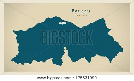 Modern Map - Baucau Tl Illustration Silhouette