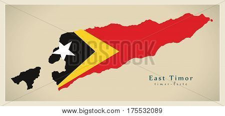 Modern Map - East Timor Flag Colored Tl Illustration