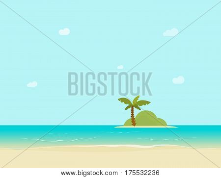 Sea island horizon view from sand beach vector illustration, flat style coast landscape, tropical palm on island far from shore