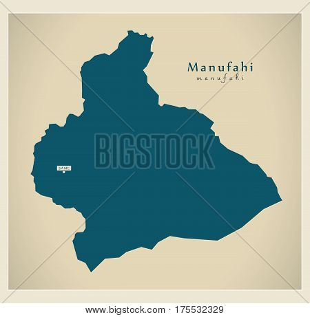 Modern Map - Manufahi Tl Illustration Silhouette