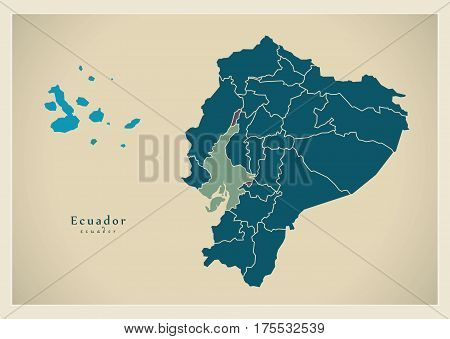 Modern Map - Ecuador With Islands And Provinces Ec Illustration Silhouette