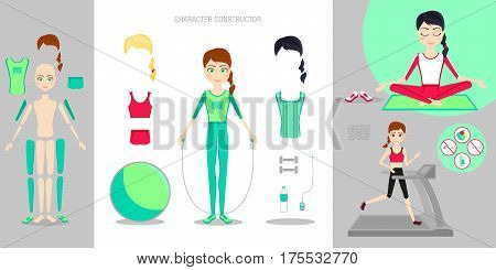 Sportswoman character constructor set. Cartoon vector flat infographic illustration. Girl leads a healthy sport lifestyle. Yoga, on the treadmill. Ball, dumbbells, water bottle, various sportswear