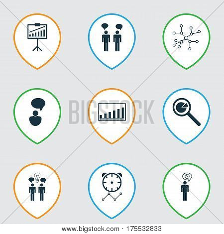 Set Of 9 Administration Icons. Includes Planning, Co-Working, Report Demonstration And Other Symbols. Beautiful Design Elements.