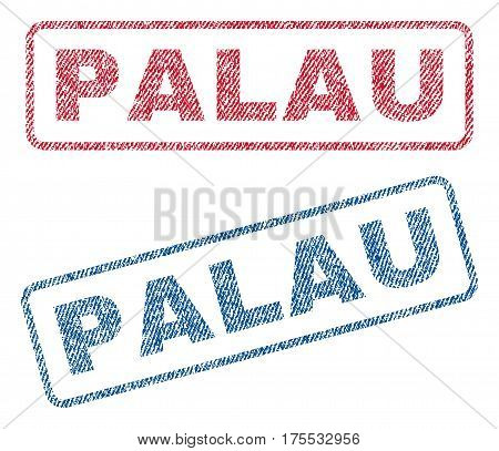Palau text textile seal stamp watermarks. Blue red fabric vectorized texture. Vector caption inside rounded rectangular shape. Rubber sign with fiber textile structure.