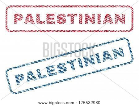 Palestinian text textile seal stamp watermarks. Blue red fabric vectorized texture. Vector tag inside rounded rectangular banner. Rubber emblem with fiber textile structure.