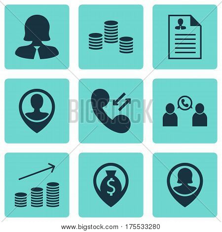 Set Of 9 Hr Icons. Includes Curriculum Vitae, Pin Employee, Phone Conference And Other Symbols. Beautiful Design Elements.