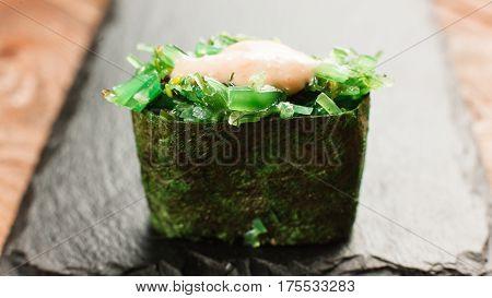 Japanese Healthy Food Sushi Maki Roll Restaurant Menu Photo Concept