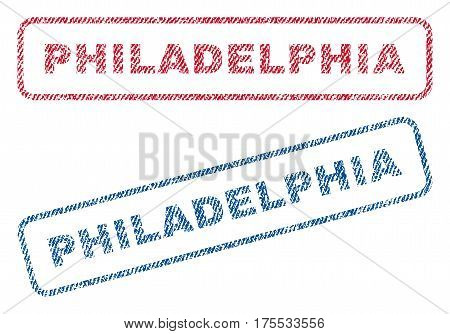 Philadelphia text textile seal stamp watermarks. Blue red fabric vectorized texture. Vector caption inside rounded rectangular banner. Rubber emblem with fiber textile structure.