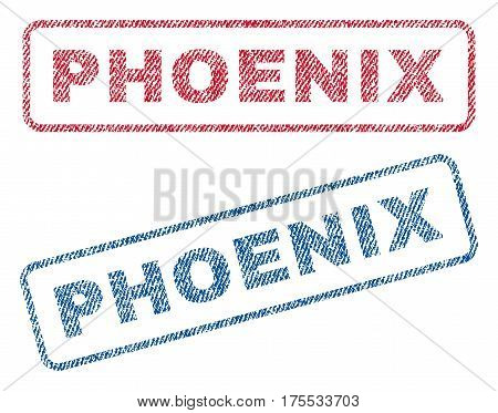 Phoenix text textile seal stamp watermarks. Blue red fabric vectorized texture. Vector caption inside rounded rectangular banner. Rubber emblem with fiber textile structure.