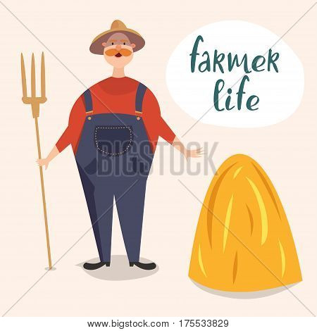 A cartoon character. Farmer and drain hay. The inscription