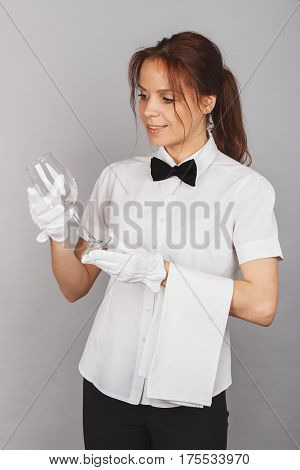 Attractive Woman Waitress With A Wineglass