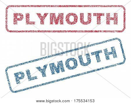 Plymouth text textile seal stamp watermarks. Blue red fabric vectorized texture. Vector caption inside rounded rectangular shape. Rubber sticker with fiber textile structure.