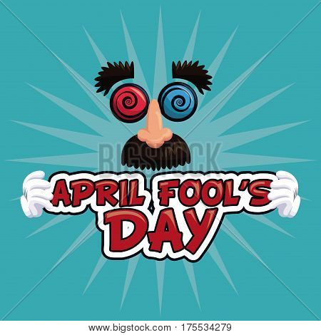 april fools day lettering face funny vector illustration eps 10