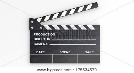 Movie Clapper On White Background. 3D Illustration