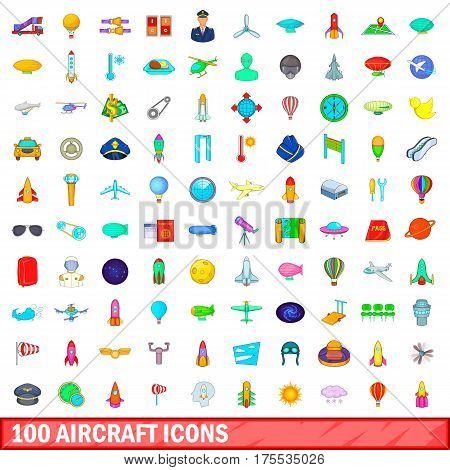 100 aircraft icons set in cartoon style for any design vector illustration