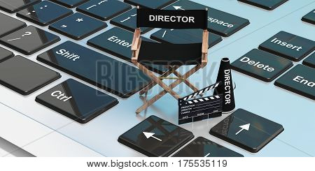 Movie Director Chair On A Laptop. 3D Illustration