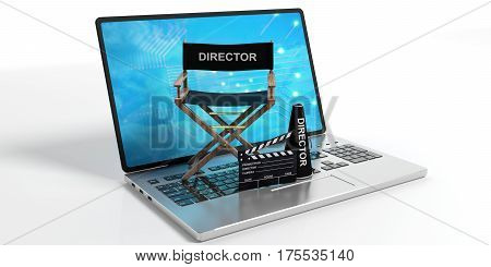 Movie Director Chair On A Laptop On White Background. 3D Illustration