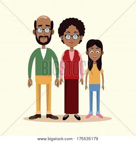 couple grandparents with grandchild family vector illustration eps 10