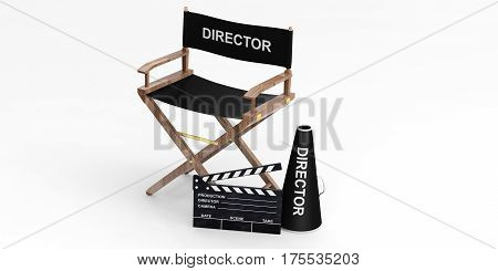 Movie Director Chair And Clapper On White Background. 3D Illustration