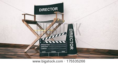 Movie Director Chair And Clapper On Wooden Floor. 3D Illustration