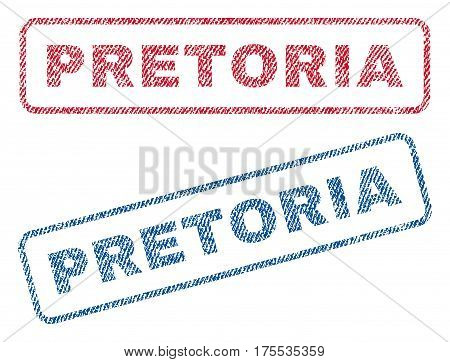 Pretoria text textile seal stamp watermarks. Blue red fabric vectorized texture. Vector caption inside rounded rectangular banner. Rubber emblem with fiber textile structure.