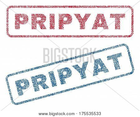 Pripyat text textile seal stamp watermarks. Blue red fabric vectorized texture. Vector tag inside rounded rectangular shape. Rubber emblem with fiber textile structure.
