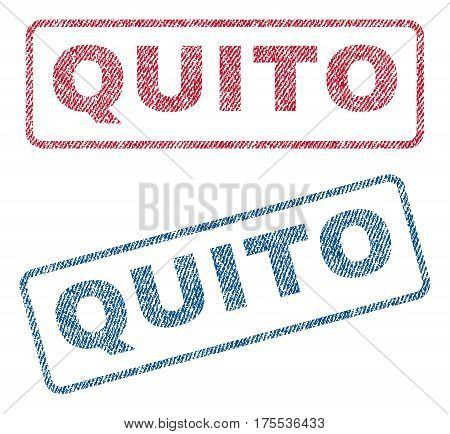 Quito text textile seal stamp watermarks. Blue red fabric vectorized texture. Vector tag inside rounded rectangular shape. Rubber sticker with fiber textile structure.